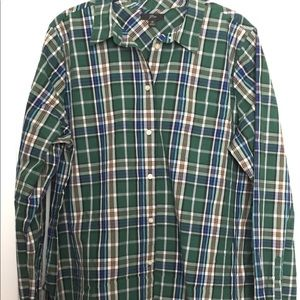 JCrew LS Button Down in Green Plaid - 16